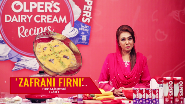 How To Make Delicious 'Zafrani Firni' with Chef Farah in Zauq Recipes.
